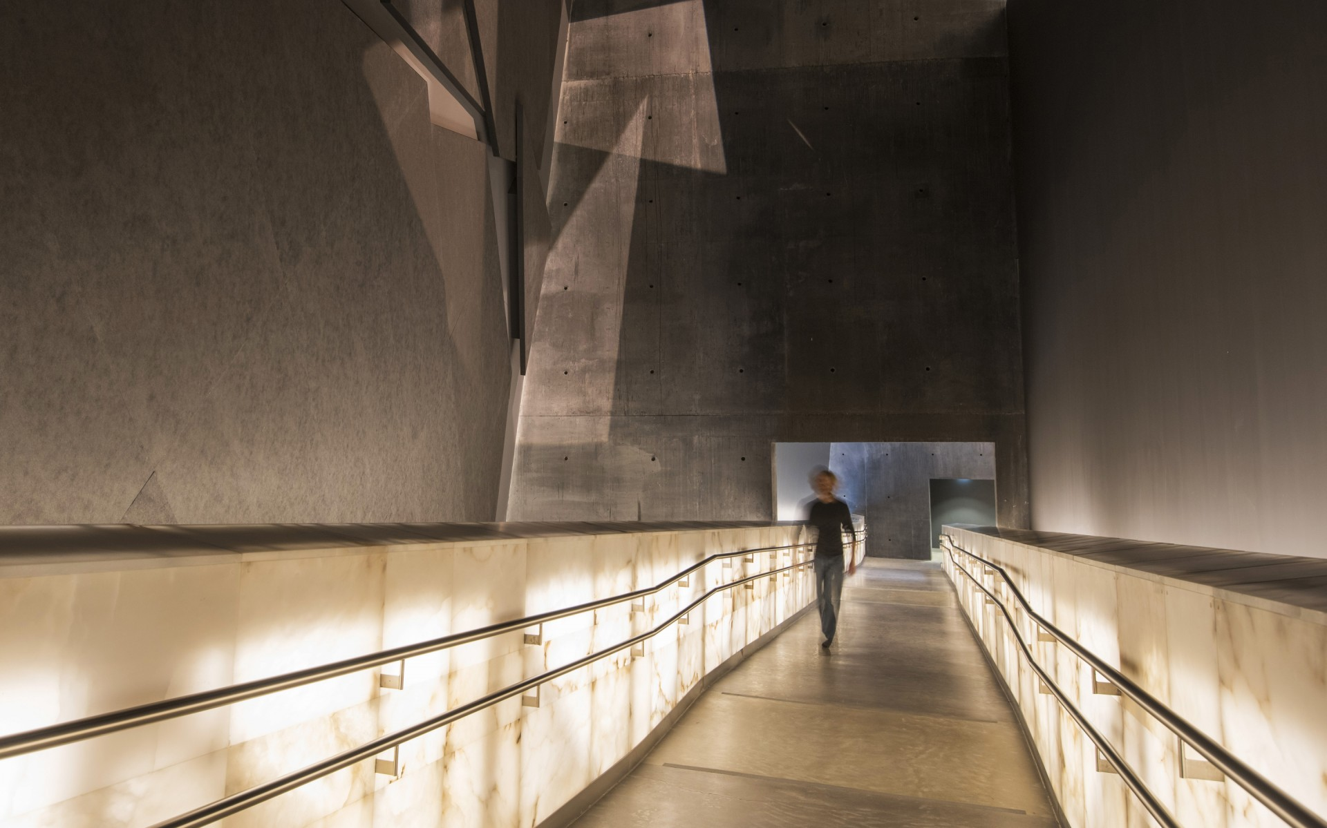 The ramps are uniformly, internally illuminated, a challenge given the density of the alabaster.