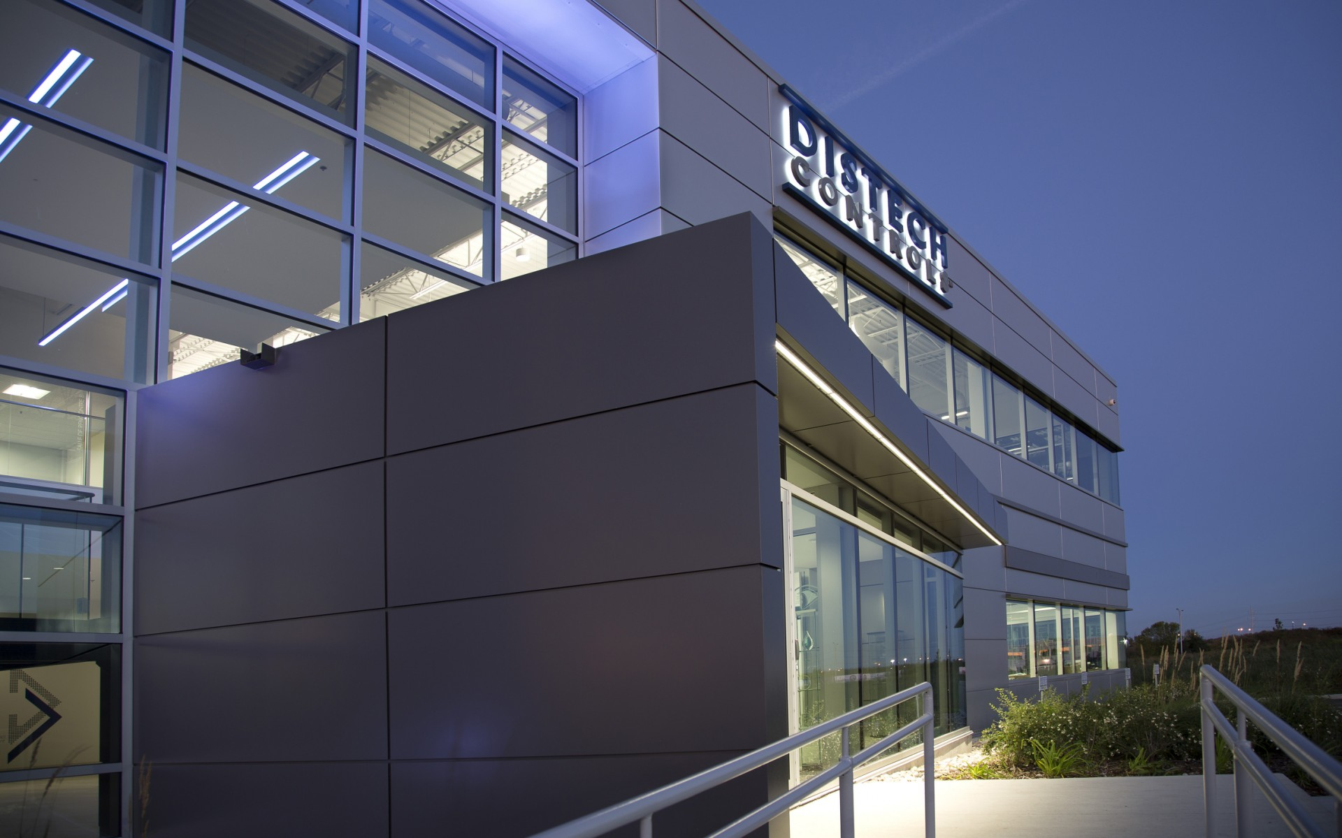 The new 34,000 square foot headquarters is lit inside and out with Lumenpulse LED technology.