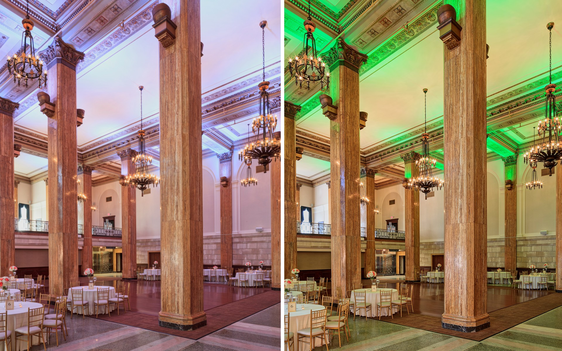 AEC then replaced metal halide lamps with Lumenbeam Grande Color Changing luminaires, giving the space the flexibility to change as needed.