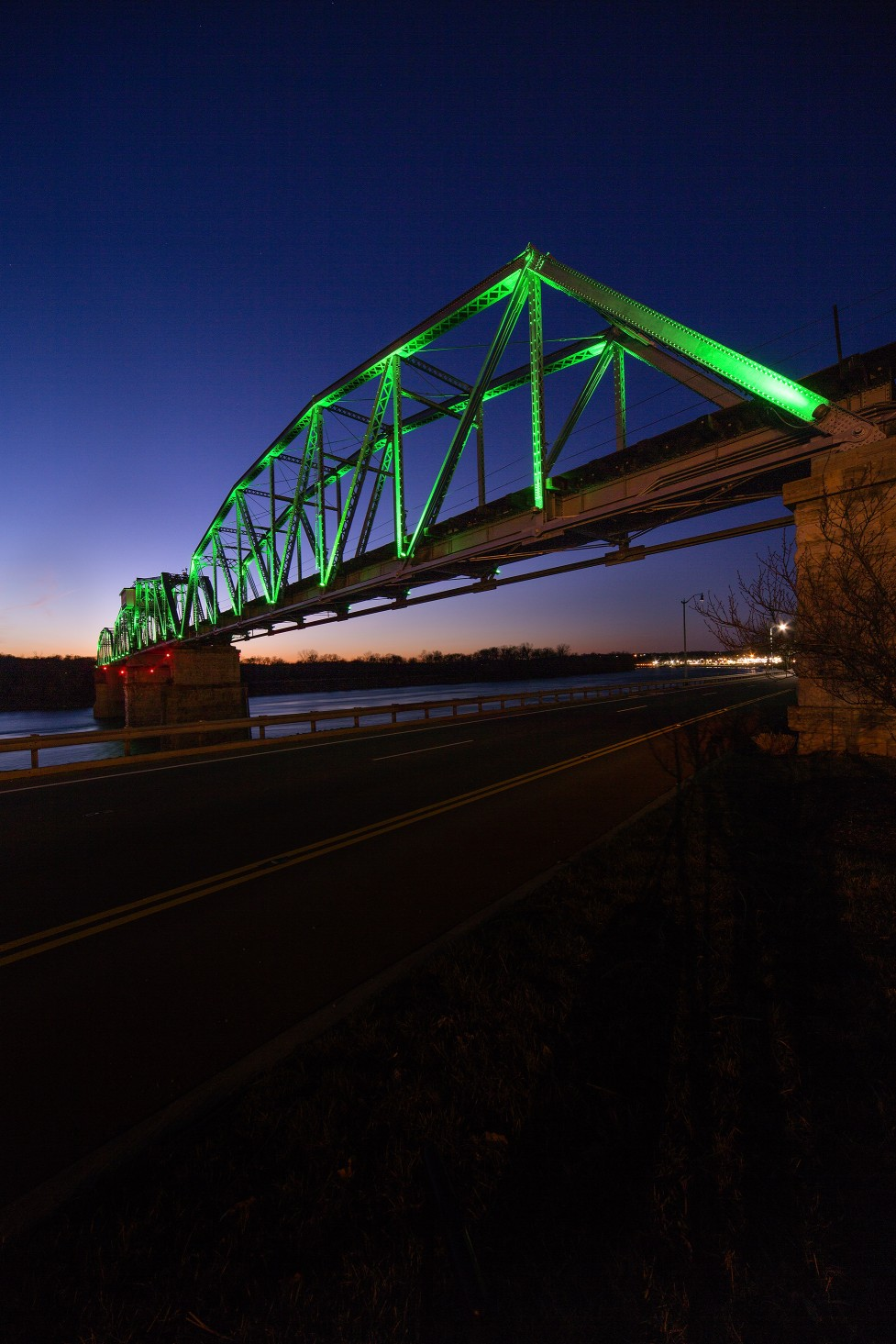 The new lighting system makes a previously rusting bridge come alive, and has brought attention to the area and the city of Clarksville.