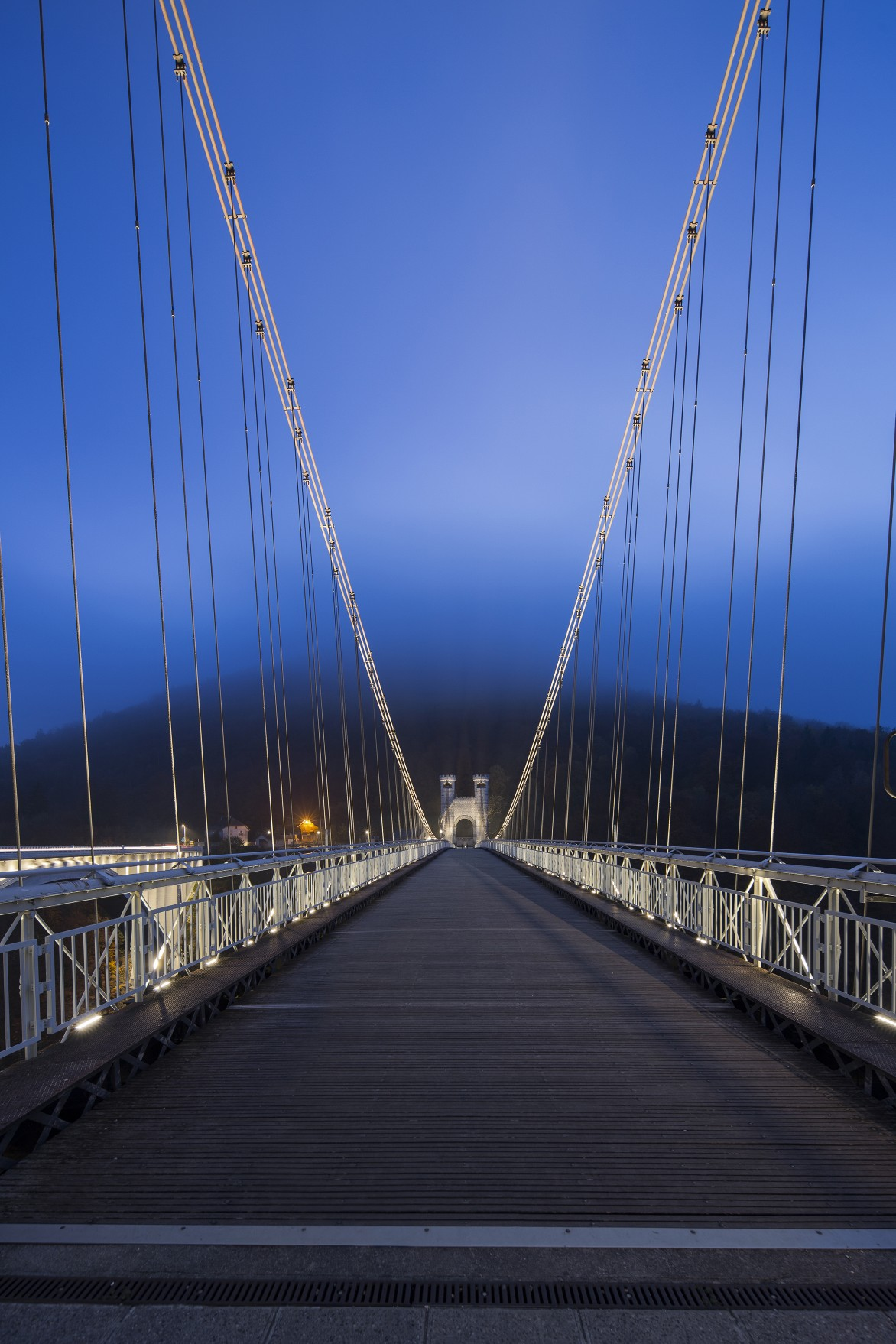 Installed along the length of the pedestrian bridge below the railing, the luminaires use 10x10 and 10x60 beam angles to illuminate the top of the bridge's cables.