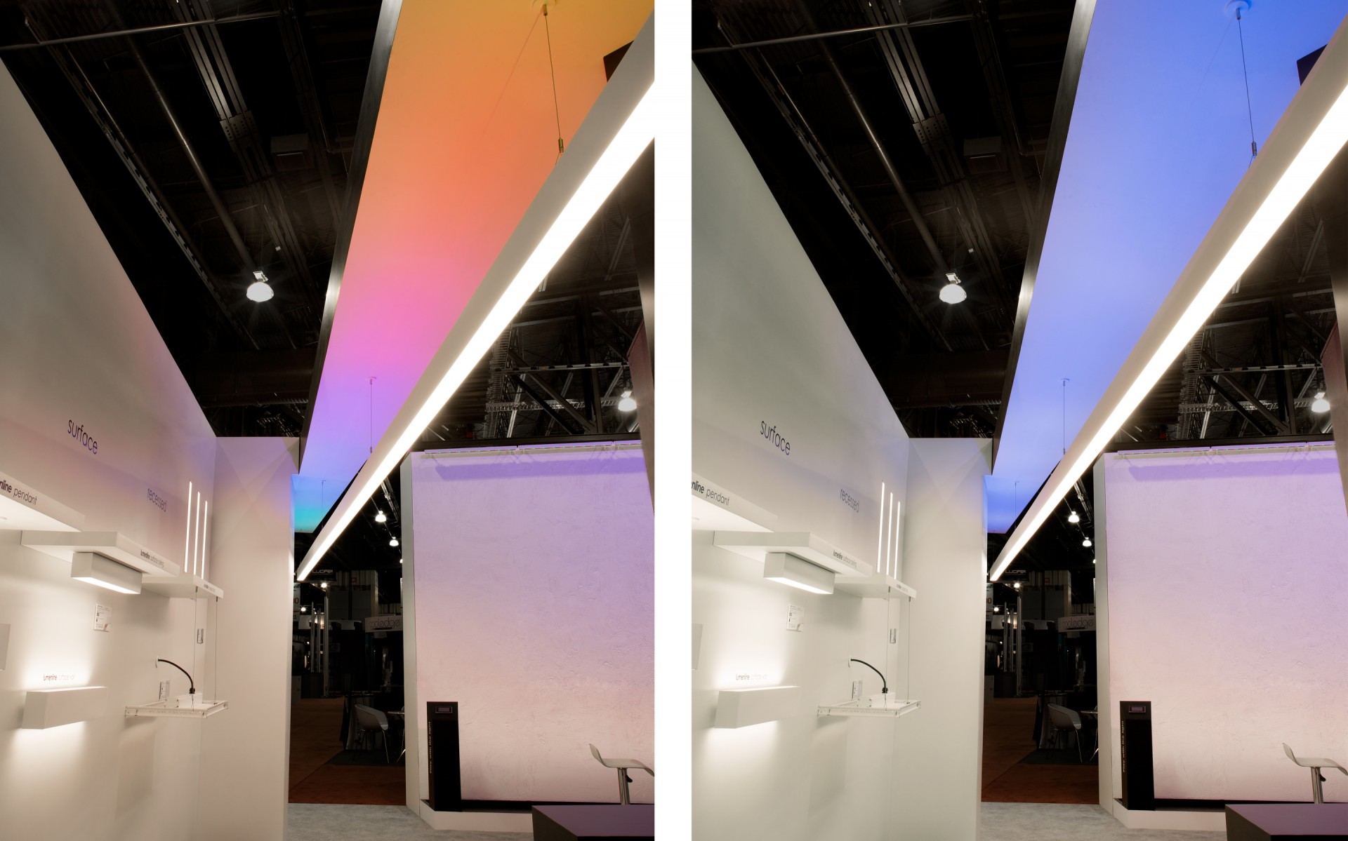 Left: The Lumenline wall. Overhead: Lumenline Pendant Direct/Indirect, with color-changing indirect light and 3500K downlight. (Lumenpulse booth, Lightfair 2013)