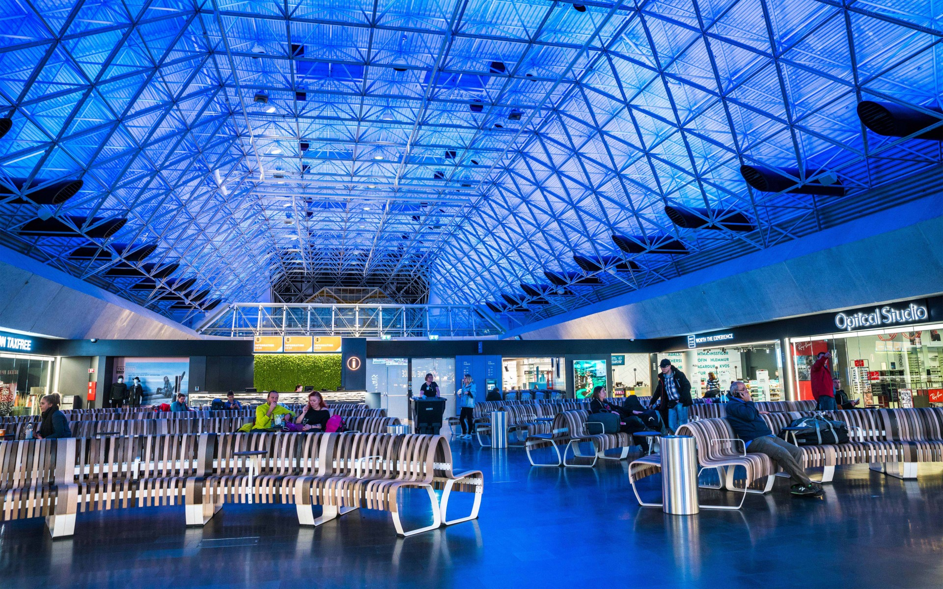 Lumencove RGBW luminaires wash the spaceframe ceiling.