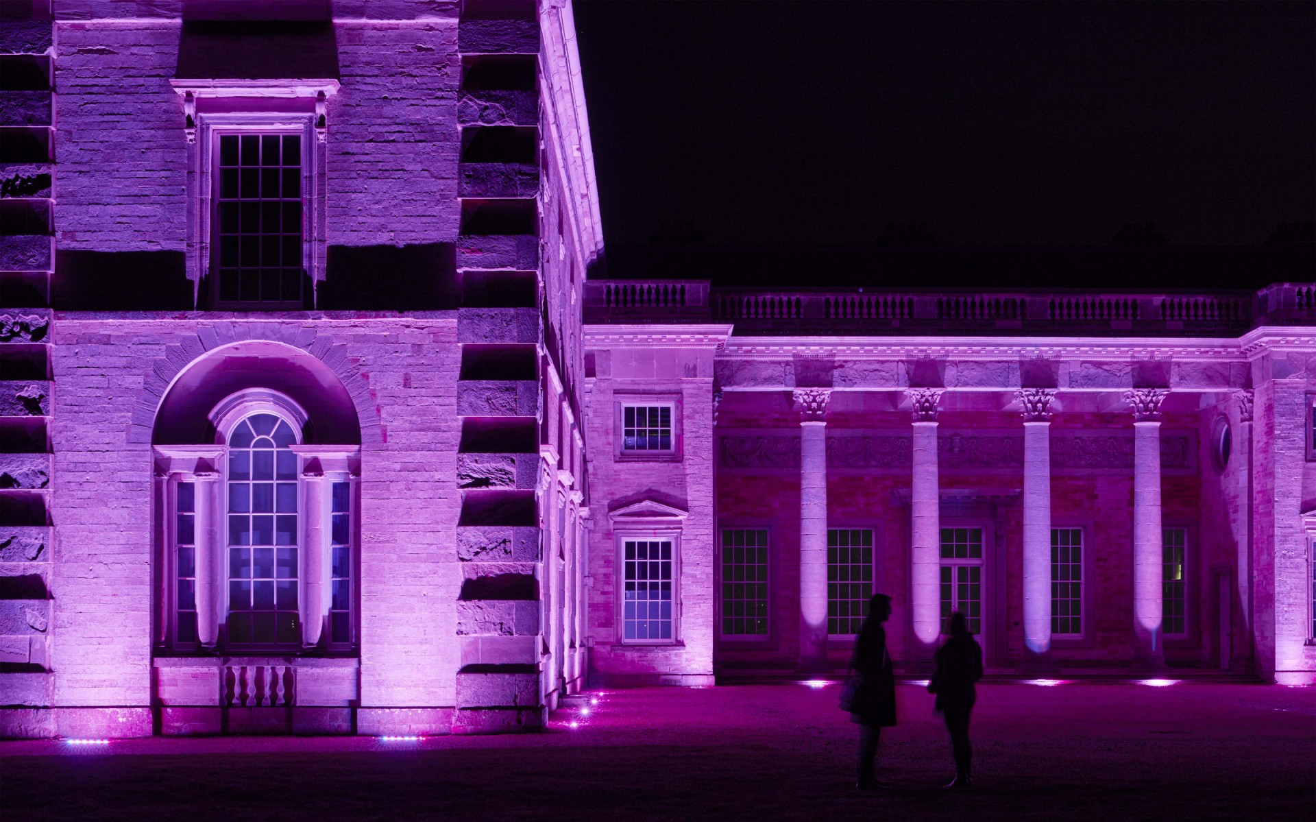 The RGBW fittings give Compton Verney the option of colour changing. – James Newton